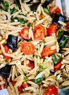 Herbed eggplant, tomato and orzo pasta with feta - cookieandkate.com