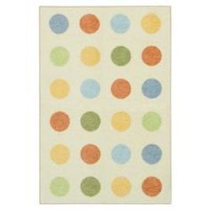 @Overstock - This area rug features a whimsical polka dot design and soft, durable nylon fibers. The natural field is highlighted with shades of baby blue, light yellow and muted orange.http://www.overstock.com/Home-Garden/Slumber-Natural-Kids-Rug-34-x-5/6527861/product.html?CID=214117 $50.99
