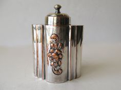 Antique Silver on Copper Tea Caddy/ Tea Canister / Silver Plate Tea Caddy / mid 19th Century / England by Picabosplace on Etsy