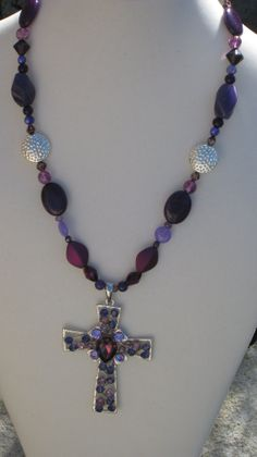 wild about purple cross and necklace by laurensatin on Etsy, $46.50 Purple Cross, Beaded Cross, Faith, Trending Outfits, Unique Jewelry, Handmade Gifts, Vintage, Etsy, Kid Craft Gifts