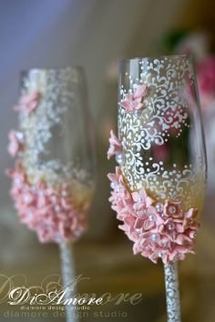 BLUSH PINK & WHITE Wedding toasting champagne glasses from the от DiAmoreDS на Etsy