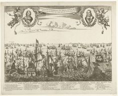 Anonymous | Vierdaagse Zeeslag, 1666, Anonymous, Pieter Hendricksz. Schut, Salomon Savery, 1666 | De Vierdaagse Zeeslag tussen de Staatse vloot onder admiraal Michiel de Ruyter en de Engelse vloot onder admiraal George Monck, 11-14 juni 1666. In de lucht de portretten van De Ruyter en Tromp in lauwerkransen met engeltjes met bazuinen. Op de achtergrond de Engelse kust. In het onderschrift de legenda 1-46. Genummerd rechtsonder: 18. Vintage World Maps, Tapestry, Decor, Hanging Tapestry, Decorating, Dekoration, Deco, Tapestries, Wall Rugs