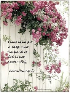 There is no pit so deep, that the hand of God is not deeper still.  Corrie ten Boom