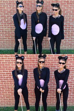 3 blind mice for character day homecoming week 2014. Original Halloween costume. Got the sticks, shirt, and pink felt at Hobby Lobby. Sunglasses at dollar tree and mouse kit at Walgreens. Whole costume: $10