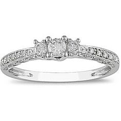pretty ring $280    http://www.overstock.com/Jewelry-Watches/10k-White-Gold-1-4ct-TDW-Diamond-3-stone-Ring-I-J-I2-I3/3955094/product.html
