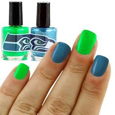#Fanatics Seattle Seahawks Steel Blue-Neon Green 2-Pack Nail Polish