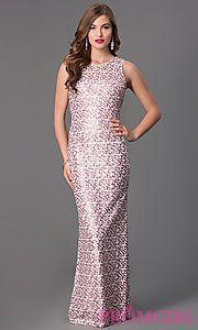 Buy Long Sleeveless Sequin Prom Dress at PromGirl