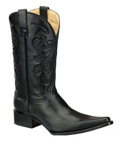 Black Embossed Leather Cowboy Boot - Men