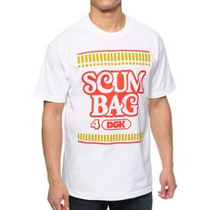 """Improving your style is easier than ever with the dope new DGK Instant white tee shirt. The smooth white colorway shows off an unmistakable instant noodles inspired red and gold """"Scumbag 4 DGK"""" text graphic at the chest with a tagless design to reduce irr"""