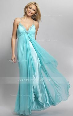 Spaghetti Straps A-line Sleeveless Empire Chiffon Beading Pattern Long Prom Dress Empire Bridesmaid Dresses, Straps Prom Dresses, Prom Dresses Blue, Homecoming Dresses, Formal Dresses, Long Dresses, Dress Prom, Party Dresses, Junior Bridesmaids