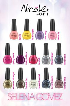 "Nicole by OPI Selena Gomez Collection...some retailer should offer a deal if you buy 3 or more or something!!!! ""frequent buyer miles"" LOL"