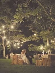 Getting enough lighting, while keeping it simple, for an outdoor evening wedding would be tricky, but I really like the look of the lighting in this picture!