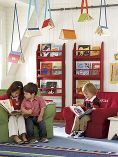 Books hanging from the ceiling is a great way to add pizzazz to the reading area. However, our whole house is a reading area! Play Spaces, Learning Spaces, Kid Spaces, Classroom Design, Classroom Decor, Classroom Organization, Classroom Reading Nook, Reading Room, Preschool Classroom