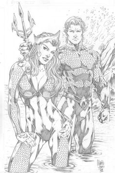 Marcio Abreu: Aquaman and Mera by comiconart on DeviantArt Comic Book Artists, Comic Book Characters, Comic Artist, Comic Character, Comic Books Art, Character Design, Heros Comics, Dc Comics Art, Batman Comics