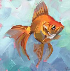 """Daily Paintworks - """"Floating Along"""" - Original Fine Art for Sale - © Teddi Parker Fish Drawings, Drawing Faces, Art Drawings, Painting Inspiration, Art Inspo, Guache, Animal Paintings, Paintings Of Fish, Acrylic Painting Animals"""