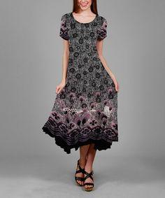 Loving this Gray & Purple Geometric Midi Dress on #zulily! #zulilyfinds