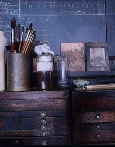 rustic and chalkboard wall