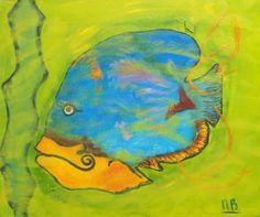Fish, schilderij van Nelly Biessen | Abstract | Modern | Kunst
