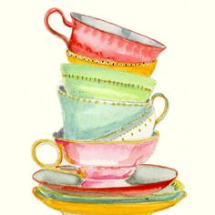 Still Life Kitchen Decor Art Print of Original Watercolor Painting -- Teacups