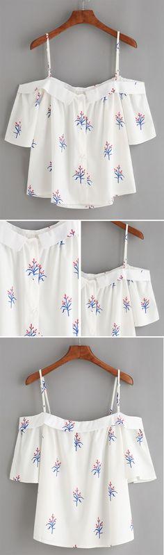 White Fold Over Cold Shoulder Flower Print Top