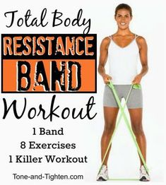 Body Resistance Band Workout – 8 exercises to tone and tighten from head to toe Amazing total body resistance band workout from Tone-and-!Amazing total body resistance band workout from Tone-and-! Band Workouts, Fitness Workouts, Killer Workouts, Sport Fitness, Fitness Diet, At Home Workouts, Health Fitness, Kids Fitness, Exercise Bands