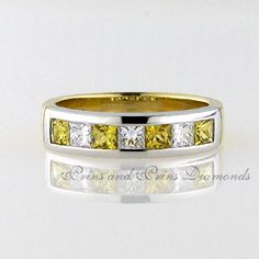 There are 3 = FG/VVS – VS princess cut diamonds and 4 = princess cut yellow sapphires channel set in yellow and white gold two-tone half eternity White Gold Eternity Rings, Princess Cut Diamonds, Sapphire Diamond, Gemstone Rings, Channel, Wedding Rings, Engagement Rings, Yellow, Jewelry