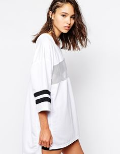 Image 1 ofThis Is A Love Song Oversized Athletic T-Shirt Dress With Mesh Panel