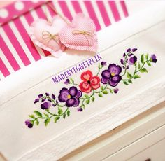Cross stitch violet flowers towel