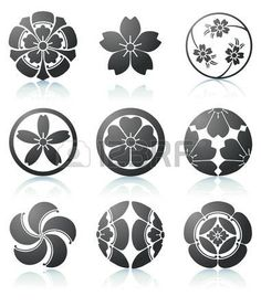 illustration set of abstract Sakura graphic elements in japanese style Stock Vector