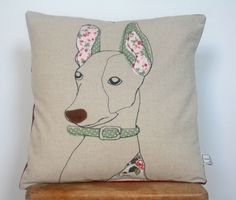 Applique Dog Cushion - Diane Watson @ Naughty Dog - Folksy