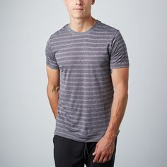 "Path Glide Tee // Turbulence ? Soft tag to save you the itch ? Jacquard striped fabric, -19""chest , -34""arm"