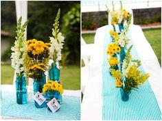decoração amarela e azul