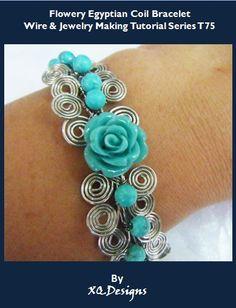 Flower Egyptian Coil Bracelet Wire & Jewelry Making Tutorial.
