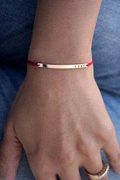 Skinny bar LOVE bracelet with silk cord Slim por shopLUCA en Etsy