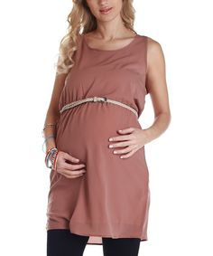 Take a look at this Mocha Belted Maternity Tunic by PinkBlush Maternity on #zulily today! $32.99