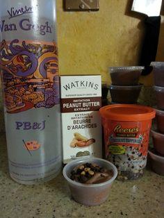 PEANUT BUTTER CUP PUDDING SHOTS 1 small box chocolate pudding 3/4C milk 3/4C Van Gogh PBJ vodka. 2 TBS peanut butter extract 18 oz tub Cool Whip