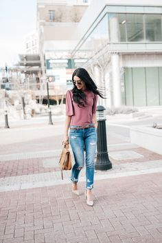 ROSE BLOUSE AND JEANS