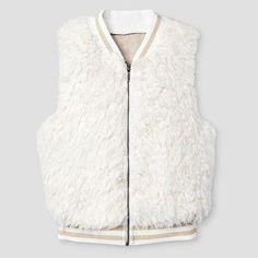 Girls' Faux Fur Vest Ivory S - Xhilaration, Size: S (6-6X), White
