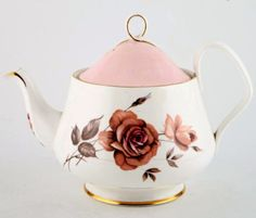 "Prelude –1950s This beautiful pattern had a gorgeous deep colored pink Rose on a bright white bone china. Pastel Pink and Gold highlight this pattern! To see more of this pattern ""P"" patterns Page http://www.royalalbertpatterns.com/a%20to%20z%20pages/rapgp.htm"