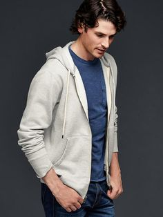 Lived-in zip hoodie - Washed in special enzymes for exceptional softness and a worn-in look, the Lived-In fleece feels like you�ve had it forever.