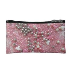 #pink - #Pink Sparkles and Love Hearts Makeup Bag