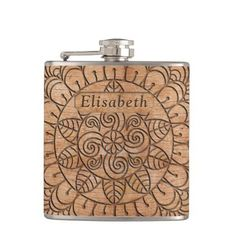 Carved Wood Floral Circles Mandala Add Name Flask - kitchen gifts diy ideas decor special unique individual customized Oldest Whiskey, Wood Circles, Flower Of Life, Carved Wood, Floral Flowers, Rustic Style, Unique Gifts, Floral Design, Carving