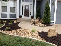Nice use of landscape rock, mulch, stone edging, dry river creek and a bubbling rock water feature. River Rock Landscaping, Mulch Landscaping, Landscaping With Rocks, Front Yard Landscaping, Landscaping Ideas, Backyard Ideas, Patio Ideas, Garden Ideas With Mulch, Decorative Rock Landscaping
