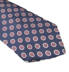 BERT PULITZER MENS NECKTIE TIE BLUE WITH WHITE AND MAROON DESIGN