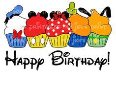 Happy Birthday Minnie Cupcake Printable by mrjoesprintables, $5.00