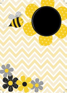 Bee Crafts, Diy And Crafts, Binder Covers Free, Buzz Bee, Bee Party, Borders And Frames, Bee Theme, Mellow Yellow, Flower Frame