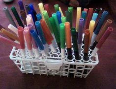 13 in Pen and Marker Storage in a baby bottle dishwasher basket Craft Organization, Craft Storage, Classroom Organization, Storage Ideas, Organizing Tips, Storage Solutions, Cleaning Tips, Classroom Ideas, Dishwasher Basket