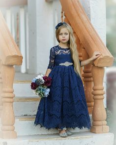 Lace Flower Girl Dress Navy Blue Long Sleeve Flower Girl Dresses Boho Flower girl dress Rustic Lace Flower Girl Dress Burgundy - Navy Dresses - Ideas of Navy Dresses Rustic Flower Girls, Lace Flower Girls, Lace Flowers, Exotic Flowers, Flowers Garden, Navy Blue Flowers, Navy Blue Dresses, Purple Lace, Yellow Roses
