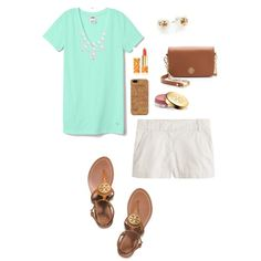 Less Talky More Tory, mint V-neck tee, white shorts