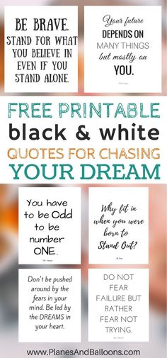 Quotes printable black and white for that little push to chase your dreams. Get them now and stay inspired with these free printable quotes. Visitez la boutique d'art pour petits et grands Framed Quotes, Canvas Quotes, Wall Art Quotes, Painting Quotes, Painting Canvas, Free Inspirational Quotes, Motivational Quotes, Quotes Quotes, Dream Quotes